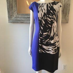 Maggy London Color Block/Print Sheath Dress 12P